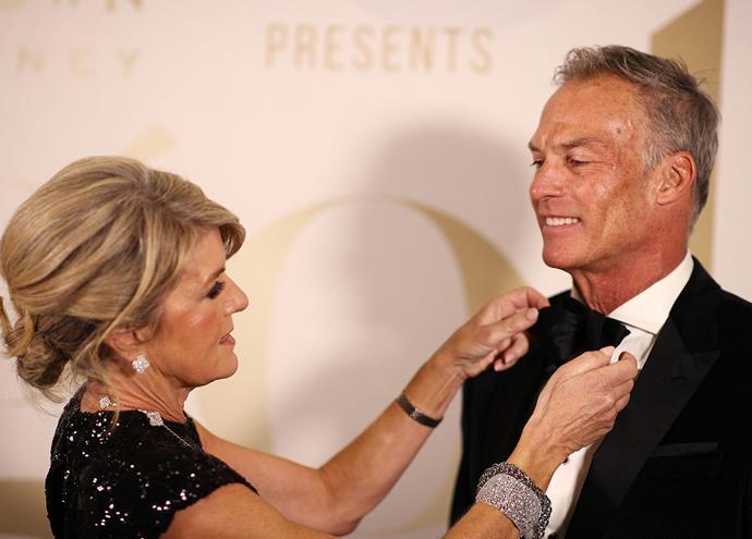Former Foreign Minister Julie Bishop tends to partner David Panton's bow-tie.