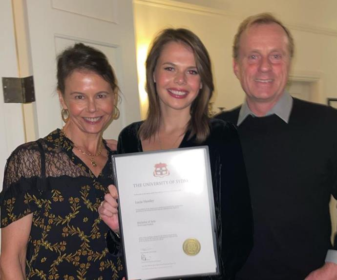 The graduate: Lucia Hawley, pictured with mum Antonia Kidman and stepdad Craig Marran, graduated this week with a Bachelor of Arts degree.