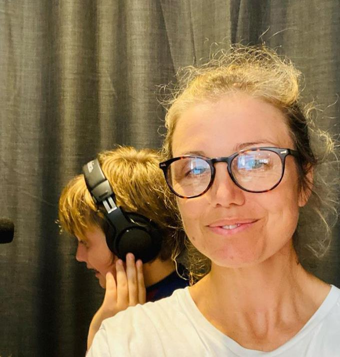 """**Birdie Carter**  <br><br> Birdie went makeup-free to record some voice over work with her son and """"mini-me"""" Tobias by her side."""