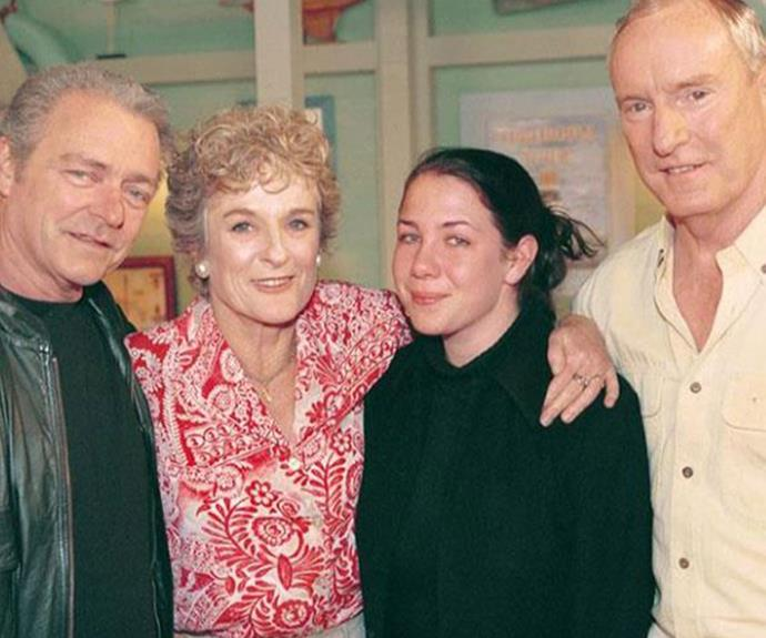 L-R: Don Fisher (Norman Coburn), Ailsa Stewart (Judy Nunn), Sally Fletcher (Kate Ritchie) and Alf Stewart (Ray Meagher) on the set of Home And Away back in the 90s.
