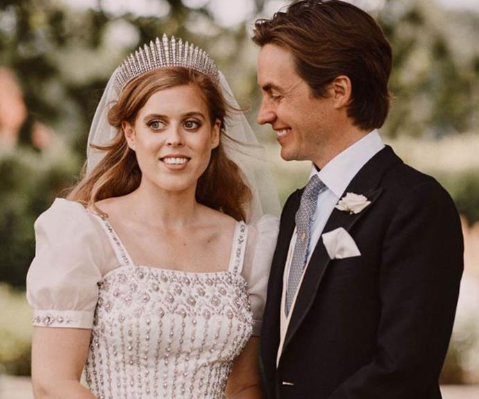 Princess Beatrice wore her grandmother's wedding tiara for her big day, and she also borrowed one of the Queen's dresses for the occasion.