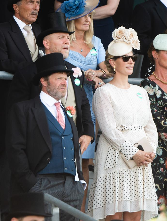And new mum Zara Tindall, who welcomed her third child Lucas earlier this year, also looked gorgeous in a white and polka-dot contrast dress.