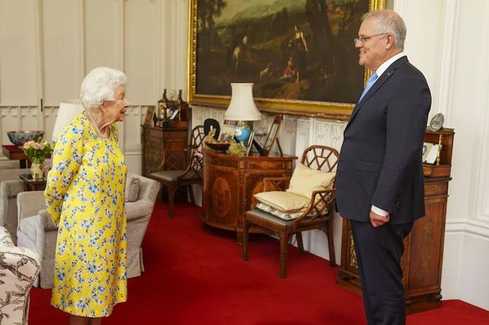The Queen hosted Scott Morrison for a private audience at Windsor Castle.