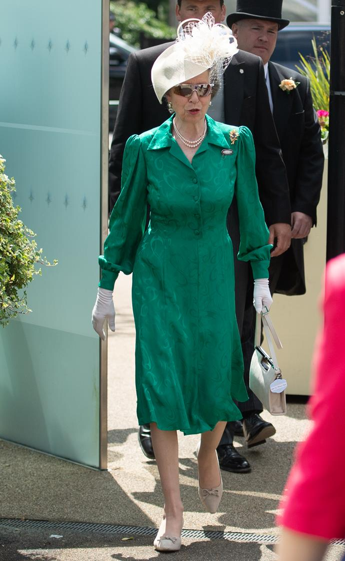 Princess Anne made an appearance on day two in shades of emerald green, complete with a white hat.