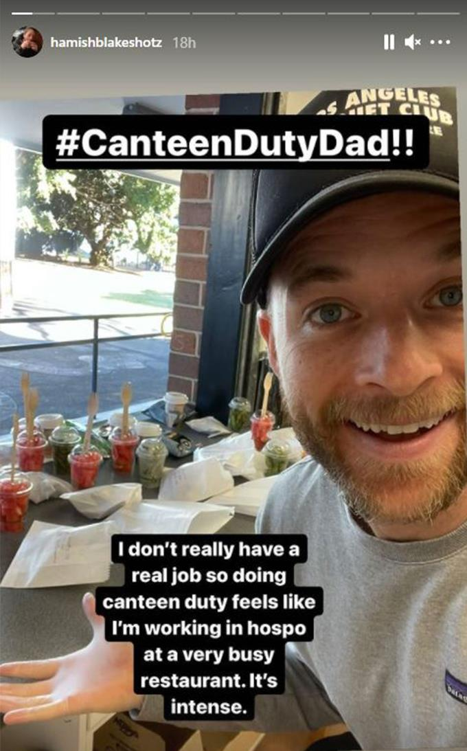 """Canteen Duty Dad reporting for duty! Hamish confessed that because he doesn't have a """"real job"""" he decided to help out at his son's school canteen."""