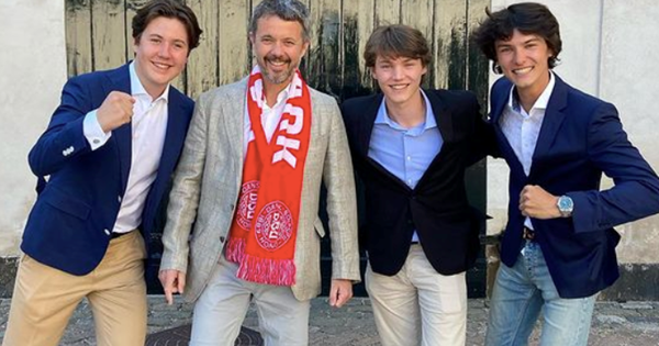 Crown Prince Frederik and his royal relatives reunite with a rare new picture - in the name of football