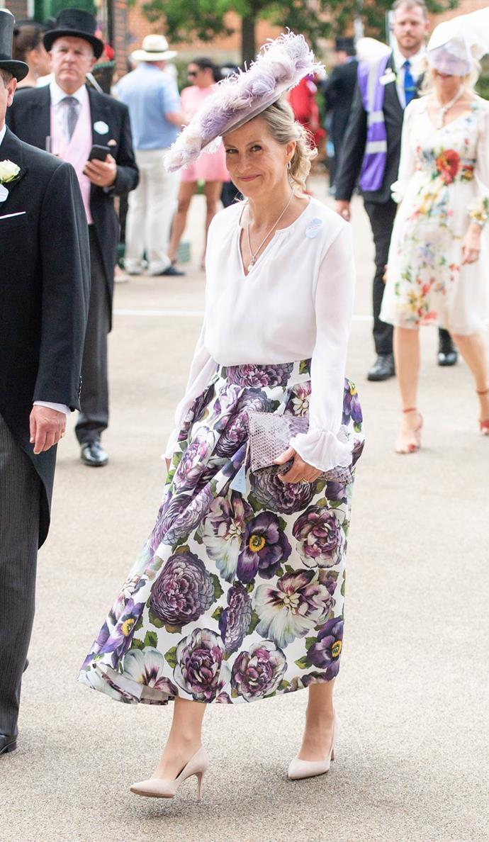 """And in 2021, she [returned with a vengeance](https://www.nowtolove.com.au/royals/british-royal-family/sophie-wessex-royal-ascot-68063 target=""""_blank"""") in this stunning purple toned look. Sophie for president!"""