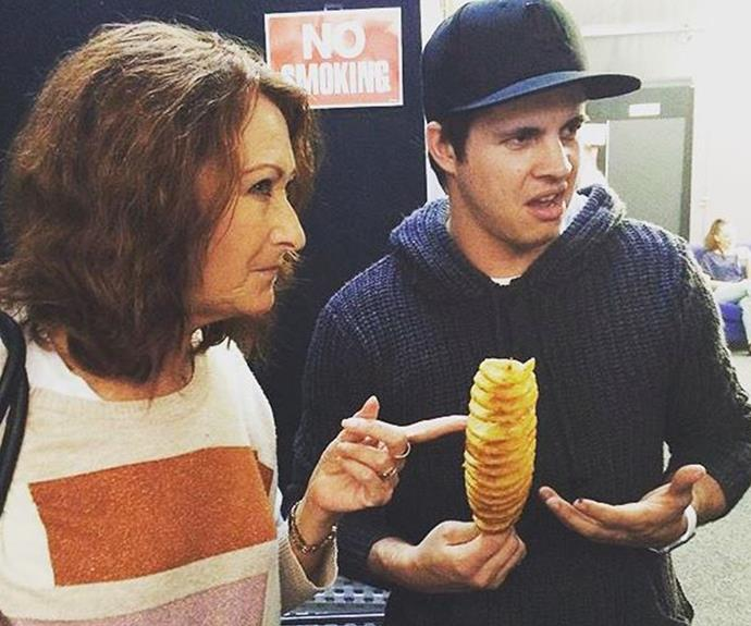 Lynne and Johnny are looking not so sure about their potato chips on a stick at the Adelaide show.