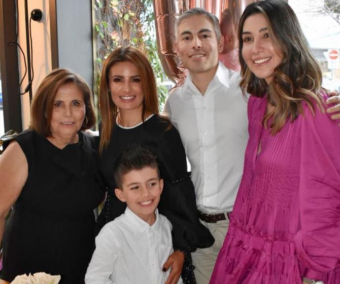 Birthday girl Jenny (far left) cuddles up to daughter Ada, son Costa (centre), Costa's wife Elena and grandson Johnas. You can really see the likeness between the generations.