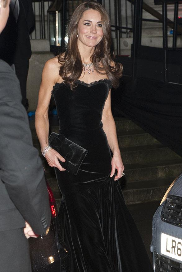 It's not the first time Kate's shown off her sculpted assets. In 2011 when the Duchess of Cambridge attended a military awards show in London her strapless black gown perfectly showcased her guns.