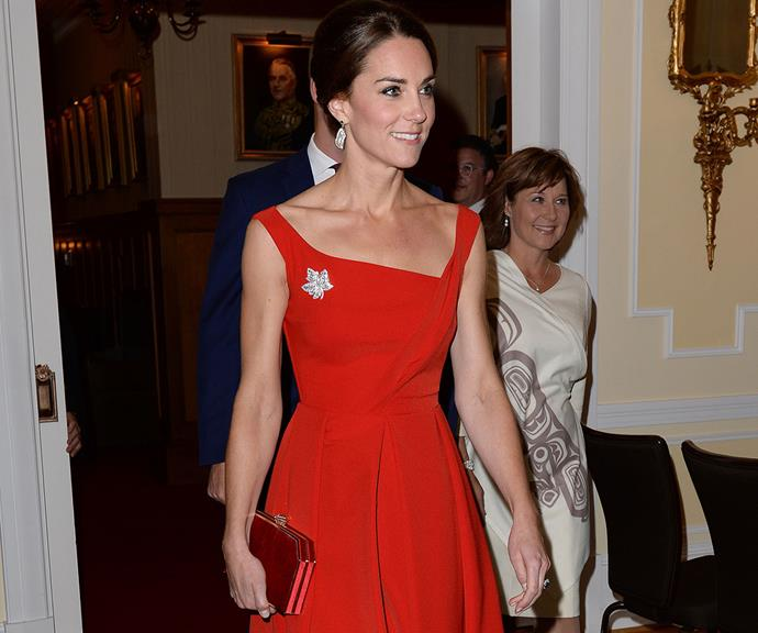 Kate's trim and toned arms had us seeing red when she attended an official reception dinner during the royal tour of Canada in 2016.