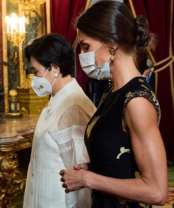 Queen Letizia's ridiculously toned arms were on full display during a state dinner for the Korean President in Madrid, Spain in June.