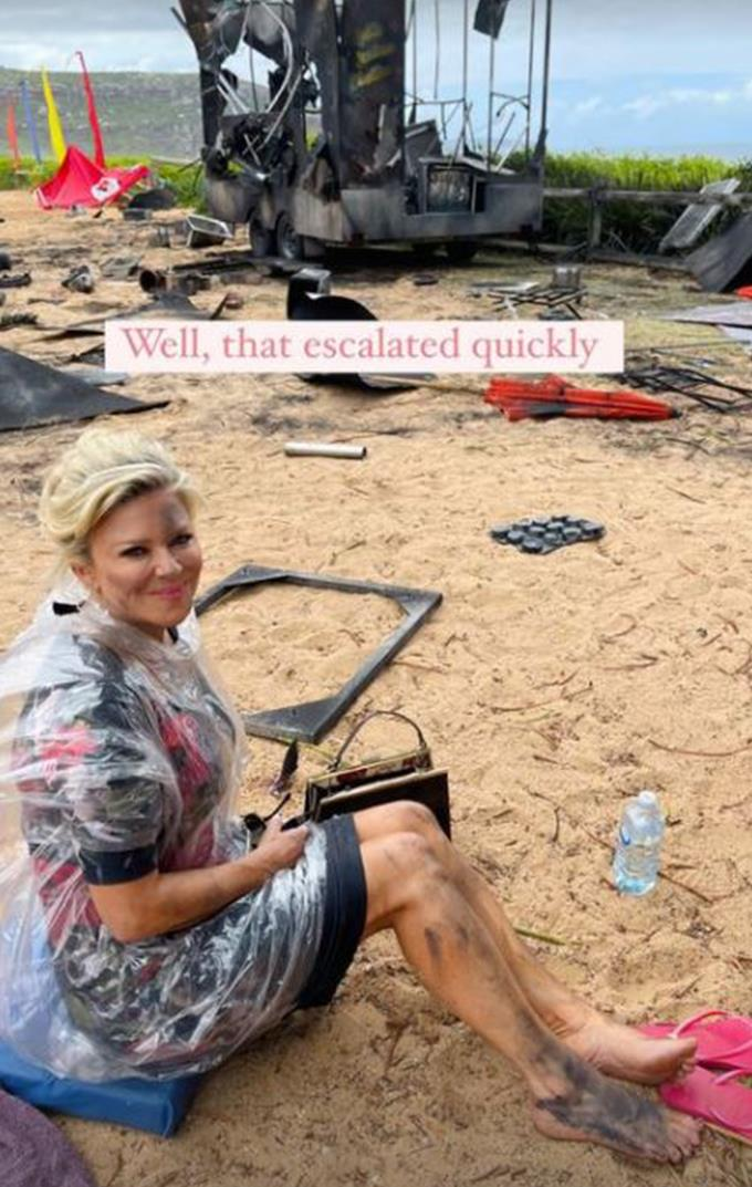 """""""Well, that escalated quickly,"""" Emily Symons mused next to this post-explosion snap."""