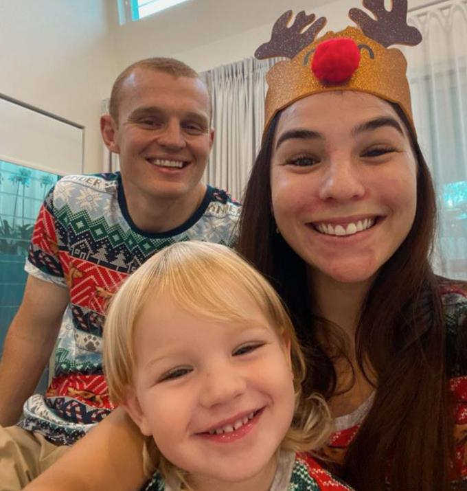 The family of three spending Christmas together in 2020.