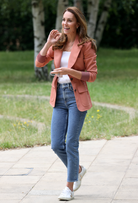 The Duchess surprised fans with an appearance in straight leg ankle grazer jeans - a small departure from her iconic skinny jeans style.