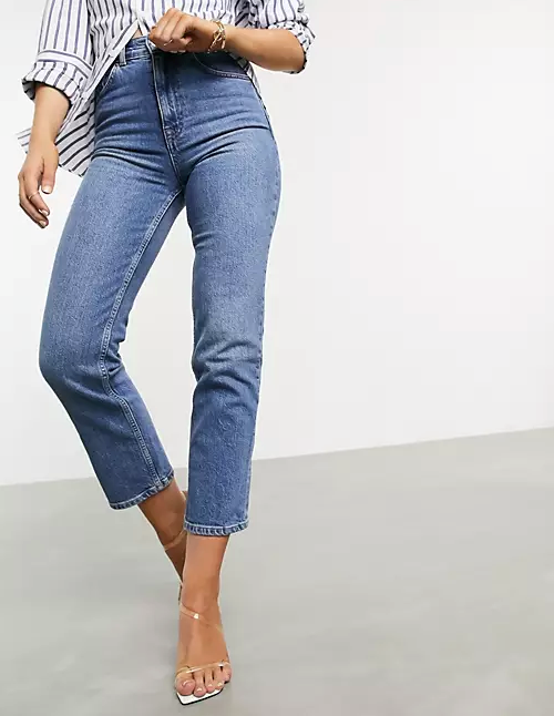 """ASOS DESIGN high rise stretch 'slim' straight leg jeans in midwash, $28.55. **[Buy them online here](https://www.asos.com/au/asos-design/asos-design-high-rise-stretch-slim-straight-leg-jeans-in-midwash/prd/20129502