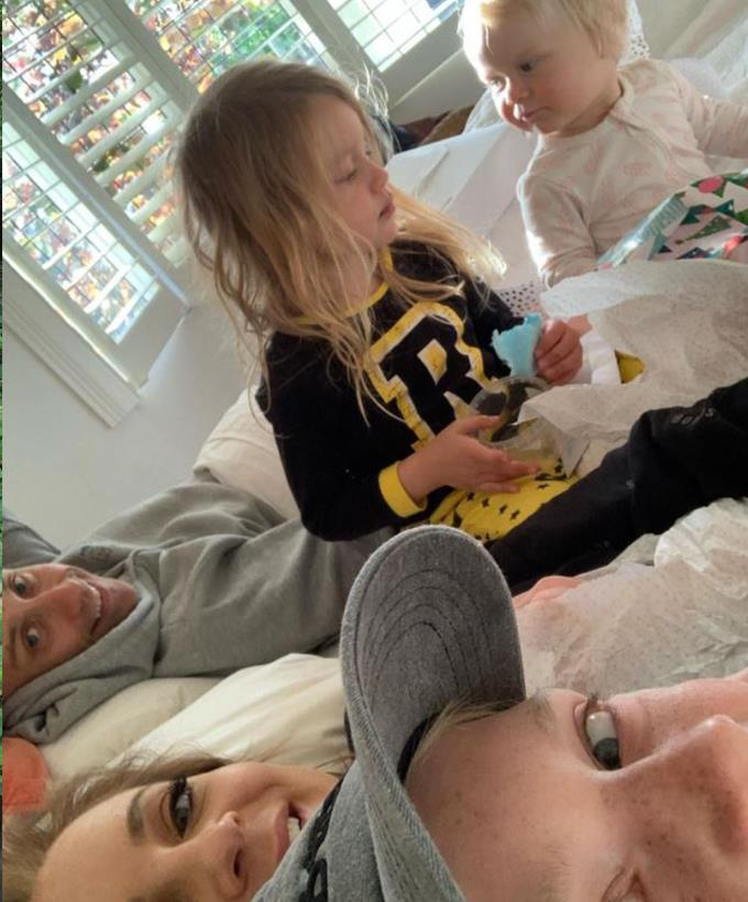 """Carrie started her birthday in 2019 in the best way possible. <br><br> She captioned this adorable moment, """"Morning birthday cuddles are the best 💕."""""""