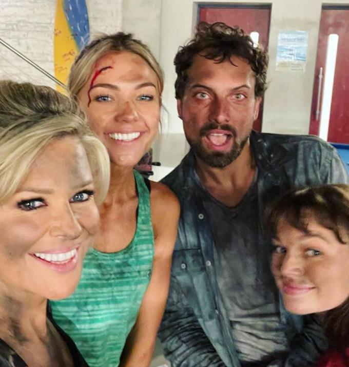 """Emily Symons, who posted this photo, joked about the loss of the food truck, """"Still smiling after the sad demise of La Cucaracha 🎶🌮🧯so much fun with @fro01 @jrreyne @courtney_ally 💗💙💗."""""""