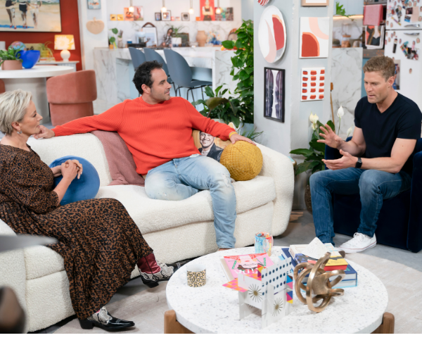 Amanda with her co-stars on *The Living Room*, Miguel and Chris.