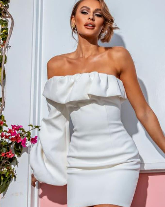 """Bianca and Bridgett Camila White, $200 and you can [find it here.](https://biancaandbridgett.com/collections/dresses/products/camila-white