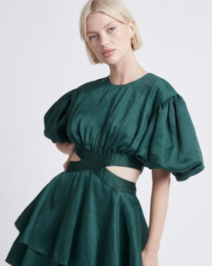 """Aje is the best brand for a puffy sleeve, and you can find this Aje Gracious Cut Out Mini Dress, $495.00 [here.](https://ajeworld.com.au/collections/dresses/products/gracious-cut-out-mini-dress-emerald