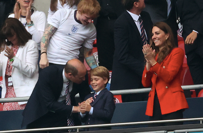 Cute! Prince George made a surprise appearance with his mum and dad at Wembly Stadium on Tuesday.