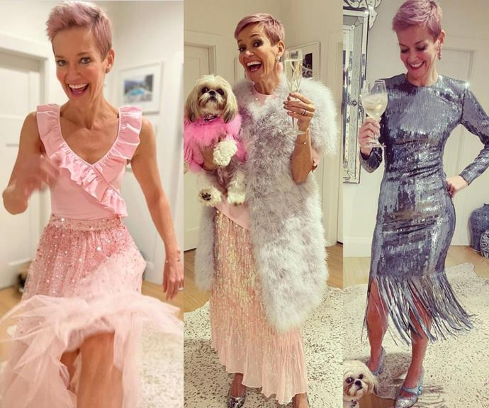 **Jessica Rowe** <br><br> The TV presenter has been putting on the most hectic, glitzy and glamorous fashion show on her Instagram, and it's impossible not to feel a little cheered up by her chaotic layering and dazzling sparkles.