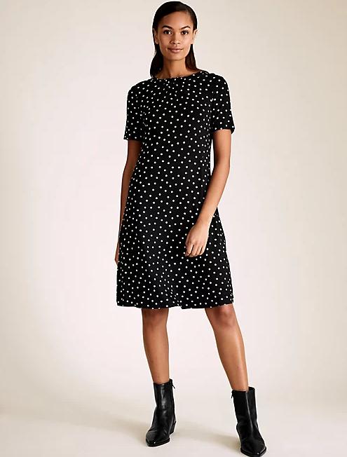 "Marks & Spencer Jersey Polka Dot Swing Dress, $42.50. **[Buy it online here](https://www.marksandspencer.com/au/jersey-polka-dot-knee-length-swing-dress/p/P60466890.html|target=""_blank""|rel=""nofollow"")**"