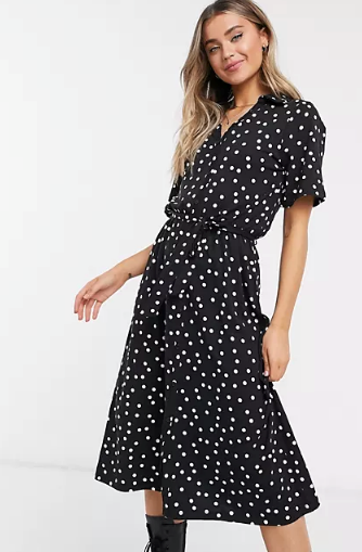 "ASOS DESIGN Midi Button Through Shirt Dress, $60. **[Buy it online here](https://www.asos.com/au/asos-design/asos-design-midi-button-through-shirt-dress-in-black-polka-dot/prd/21391024|target=""_blank""|rel=""nofollow"")**"