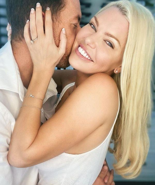 """[For her engagement announcement](https://www.nowtolove.com.au/celebrity/celeb-news/sophie-monk-engaged-66496