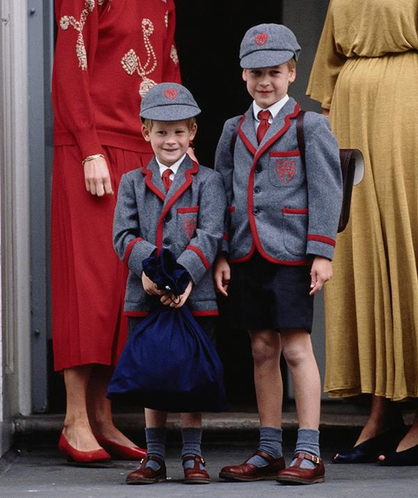 The young princes even attended school together, posing together on Harry's first day in 1989. Traditionally, royal children had been educated at home, but Harry and William shook up the system when Diana chose to send them to Wetherby School in Notting Hill, London.