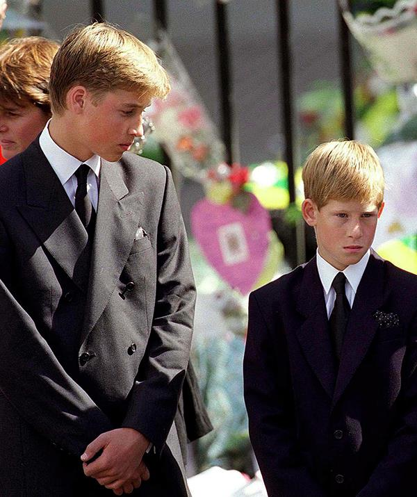 """In 1997, Harry and William faced a shared tragedy: the death of their mother, Diana, Princess of Wales. Killed in a car crash in Paris, Diana's passing was mourned around the world, but no one was as affected by her death as her two sons.  <br><br> Just 15 and 12 at the time, William and Harry walked behind their mother's coffin at her public funeral in September 1997 and were united in their grief. """"My brother and I's relationship is closer than it's been because of the situations we've been through,"""" William said of their mother's death, according to ABC News."""