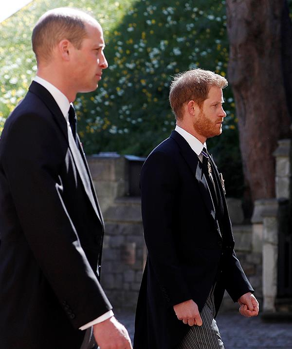 """Harry and William finally reunited for the first time in over a year at the funeral of their grandfather, Prince Philip, on April 17, 2021. Harry returned to the UK for the sombre event, following the Duke fo Edinburgh's death on April 9 at the age of 99.  <br><br> All eyes were on the brothers as they walked in the royal funeral procession, with mass speculation over a possible reconciliation between them. They were later seen talking as they left the funeral at Windsor Castle, but Harry returned to the US soon after with no sign of a renewed closeness between the brothers. But just weeks earlier Harry had told Oprah: """"I love William to bits, he's my brother, we've been through hell together."""""""
