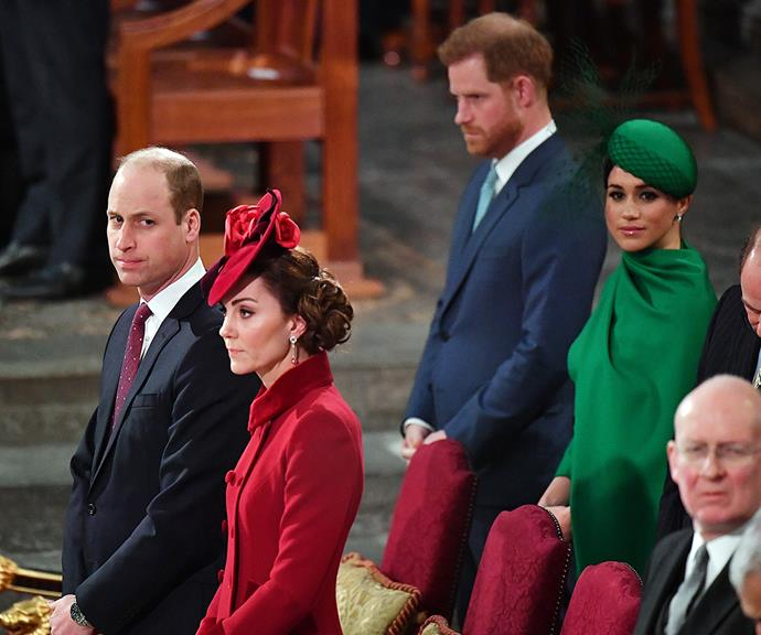 """The siblings stood apart at Harry and Meghan's final event as senior royals in March 2020, when they attended the Commonwealth Day Service with the rest of the royal family. There were wide reports of """"tension"""" between the brothers at the event, and Harry formally quit his royal role at the end of the month. <br><br> Things between the two princes reportedly only got worse after Harry and Meghan's royal exit, especially when they spoke out about their royal gripes. Harry's comments about the monarchy and Prince Charles during his and Meghan's Oprah interview and other appearances are said to have left William fuming."""