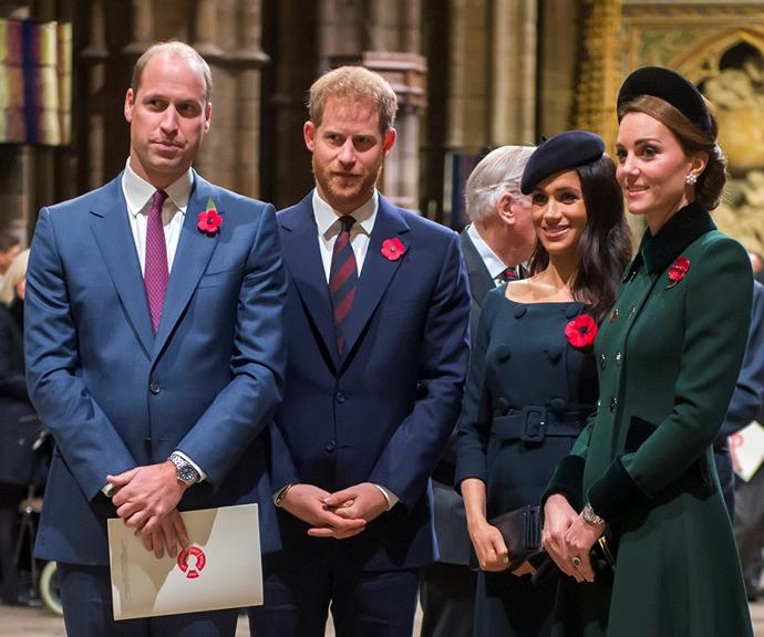 """Not long after Meghan and Harry wed, there were new signs of strain between the prince and his brother. In 2018 claims emerged within Kensington Palace that Meghan had bullied staff, and royal author Robert Lacey alleged in his book *Battle of Brothers* that William and Harry had an explosive argument over the accusations. <br><br> Then, in early 2019, Harry and Meghan moved out of Kensington Palace and formally split their household apart from William and Kate's. Until then, the royal """"fab four"""" had been a cohesive unit under the 'Kensington Palace' branding, but those days were over."""