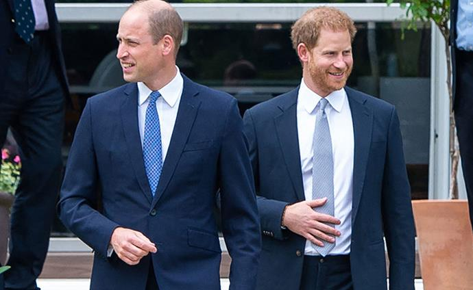United front: Harry and William have reunited for the unveiling of Princess Diana's statue.