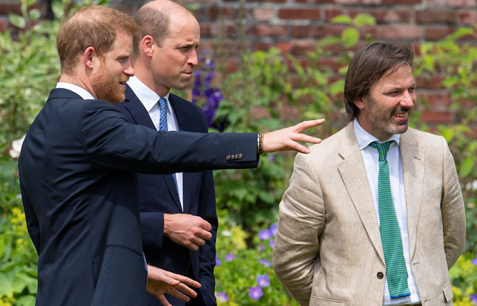 Garden designer Pip Morrison pictured with the brothers as they see the garden and statue unveiled for the first time.