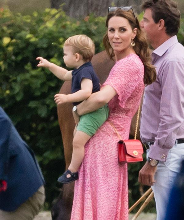 Kate and Louis, pictured at a polo event in Wokingham, England in 2019, have been spotted near the Queen's Gate entrance of Hyde Park in London.