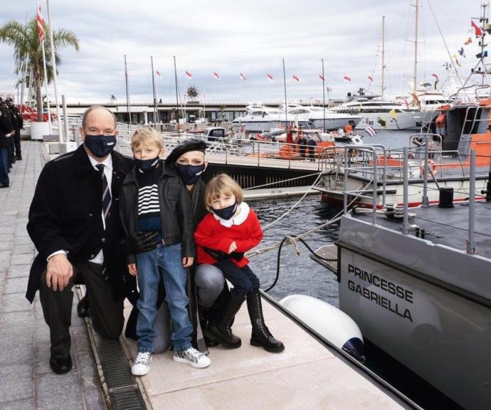 """The children have also started accompanying their parents to royal engagements more regularly as they get older.  <br><br> In this snap, shared to Charlene's Instagram, the twins wore masks as they attended the christening of the Monaco maritime police boat named Princess Gabriella. Named in honour of the young princess, Charlene captioned the photo: """"Congratulations my baby girl."""""""