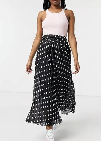 "Style Cheat Belted Pleated Midi Skirt, $60.80 (on sale). **[Buy it online via ASOS here](https://www.asos.com/au/style-cheat/style-cheat-belted-pleated-midi-skirt-in-black/prd/23143402 target=""_blank"" rel=""nofollow"")**"