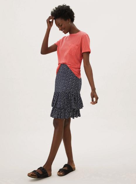 """Marks & Spencer Polka Dot Ruffle Mini Tiered Skirt, $55. **[Buy it online here](https://www.marksandspencer.com/au/polka-dot-ruffle-mini-tiered-skirt/p/P60460173.html target=""""_blank"""" rel=""""nofollow"""")**"""