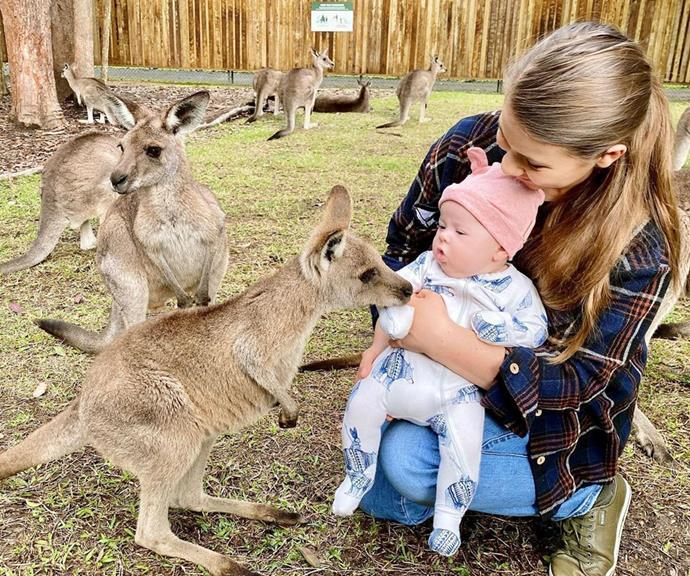 """Chandler shared another sweet update on his and Bindi's baby girl on July 4, posting an adorable snap of Grace meeting a baby kangaroo. """"Introducing our @australiazoo kangaroo joey to our human joey Grace absolutely loved meeting the littlest roos with her mama❤️,"""" he captioned the adorable photo on Instagram."""