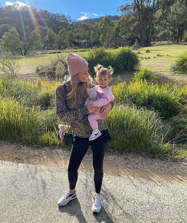"""""""A new normal and heart is full!!"""" The 37-year-old said of holidaying with a toddler. She and Jake escaped to the Blue Mountains in May 2021, taking little Frankie along to experience one of their favourite places in Australia."""