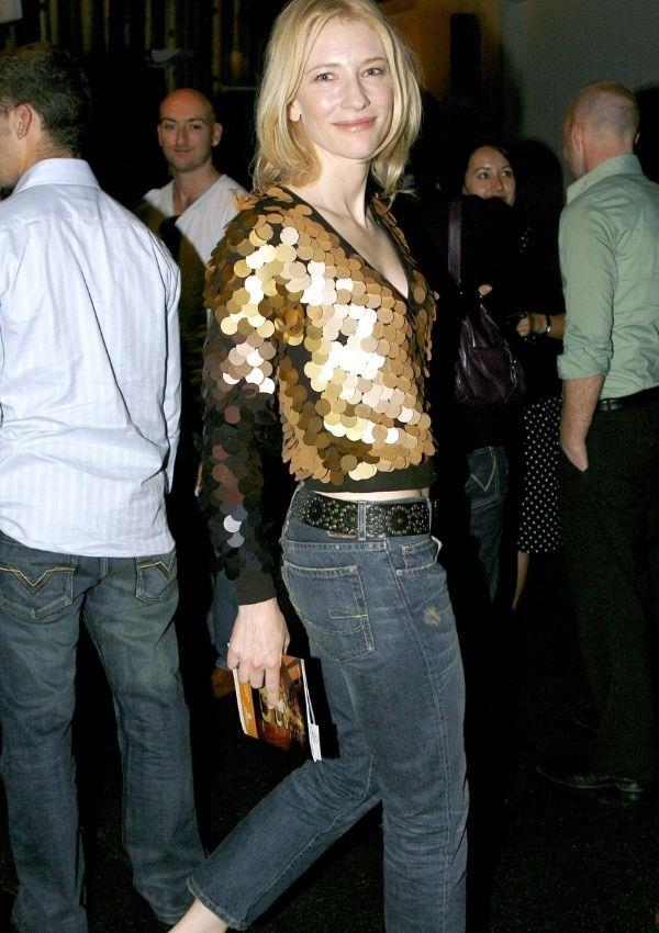 **Cate Blanchett, 2006** <br><br> Cate wore a thick bedazzled belt with low rise jeans to an event in 2006, and while many may dislike this jean style, there are sub-groups in 2021 trying to bring them back.