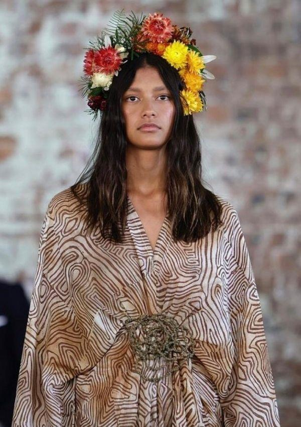 **Ngarru Miimi** <br><br> Designed and constructed by Lillardia Briggs-Houston, a Wiradjuri Gangulu Yorta Yorta woman, Ngarru Miimi is a slow, ethical fashion label that features handprinted textiles. The values of sustainability and cultural integrity are woven into her work.
