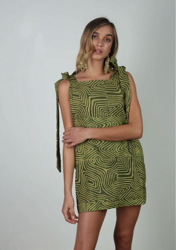 """Ngayirr Relaxed Shoulder Tie Mini Dress, $160 by Ngarru Miimi can be [found here.](https://www.ngarrumiimi.com/collections/gabingidyal-collection/products/ngayirr-relaxed-shoulder-tie-mini-dress