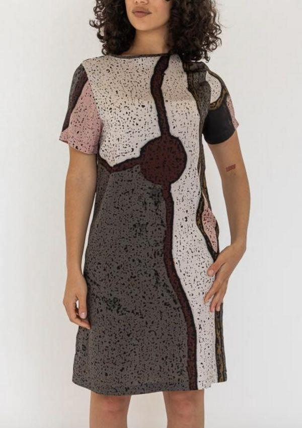 """Babin T Shirt Dress - My Country, $275 by Ngali can be [found here.](https://ngali.com.au/products/babin-tee-dress-my-country