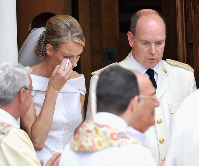 Charlene was photographed crying and wiping away tears during her and Albert's wedding ceremony.