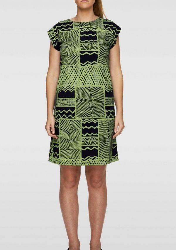 "Box Dress - Turtini Light Green Navy, $150 by Bima can be [found here.](https://bimawear.com/dresses/box-dress-turtini-light-green-navy/|target=""_blank"")"