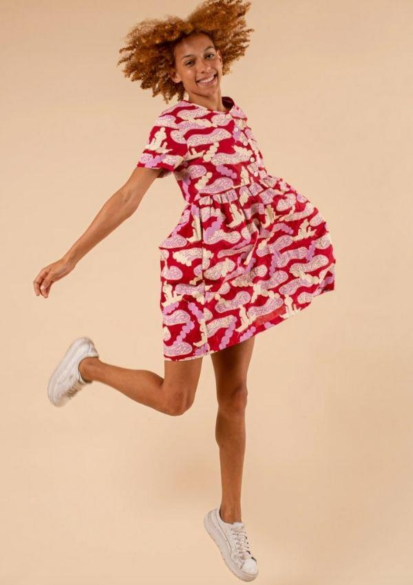 """Smock Dress - Macassans Trading With My People, $269 by Magpie Goose can be [found here.](https://magpiegoose.com/collections/all-womens/products/smock-dress-macassans-trading-with-my-people